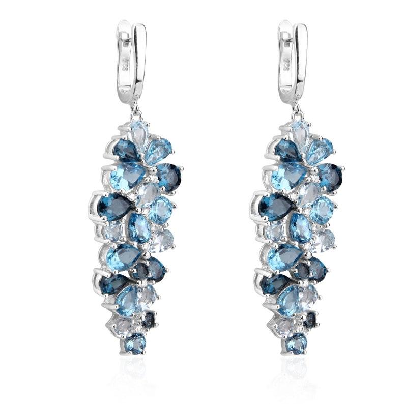 Natural Blue Topaz Jewelry Leaf Shape Gemstone Fine Sterling Silver Drop Earring