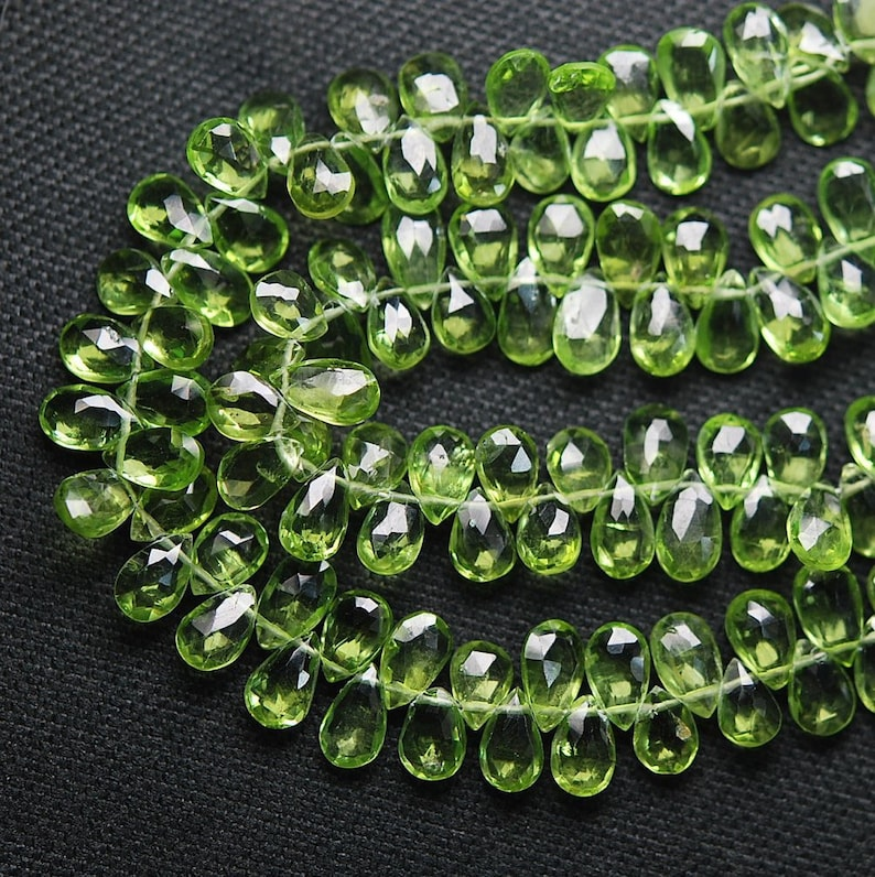Finest Quality,Peridot Faceted Pear Shape Briolettes 7-8mm Aprx 20 Pcs
