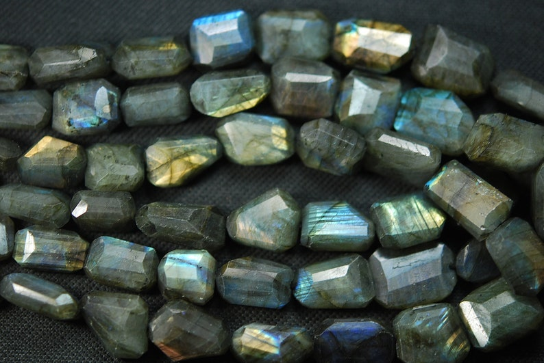 Super Labradorite Faceted Step Cut Nuggets 20-12mm Large Size 14 Inches
