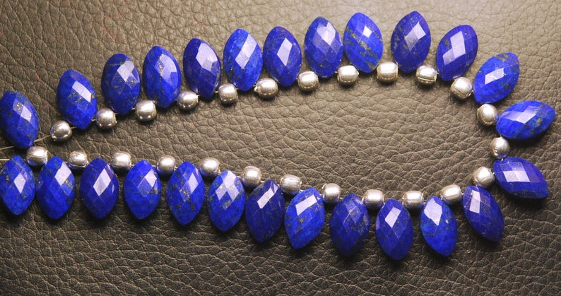 AAA Quality Superb-Finest Quality Lapis Lazuli Faceted Marquise Shaped Briolette/'s 13 Pieces 12-13mm Long Size,