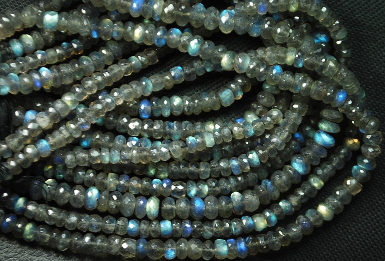 13.5 Inches Super Finest Natural Blue Flashy Labradorite Faceted Rondelles 3-4mm Aprx