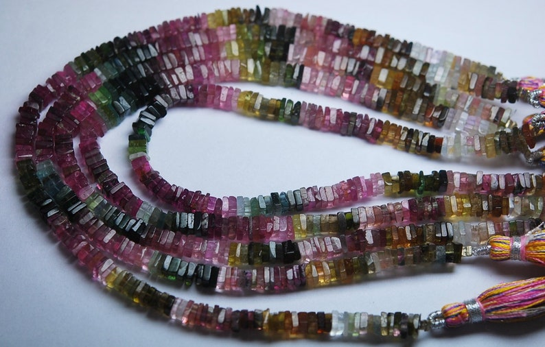 Super Finest-Quality-AAA Tourmaline Heishi Cut Square Beads 8 Inch Strand 4.5-5mm Size