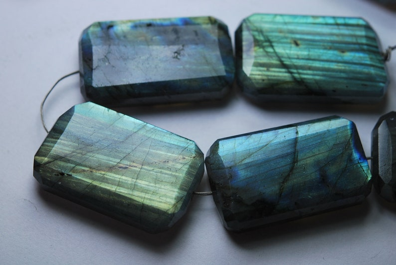 8 Inches Strand,Super Blue Flash Labradorite Faceted Step Cut Nuggets 30-25mm Large Size
