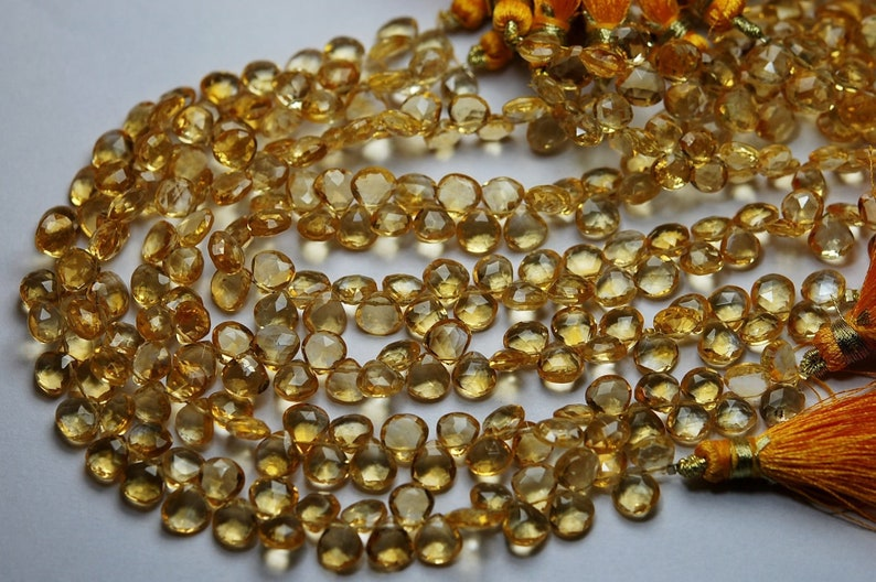 20 Pcs,Finist Quality Citrine Micro Faceted Heart Shape Briolettes Thanksgiving Sale 7-8mm Long,Great Quality