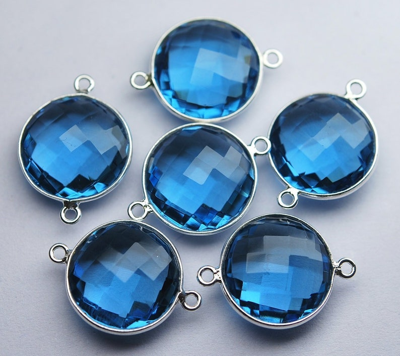 5 Piece Of 23mm Approx 92.5 Sterling Silver,Matched Pairs,London Blue Quartz Faceted Coins Shape Pendant Connector