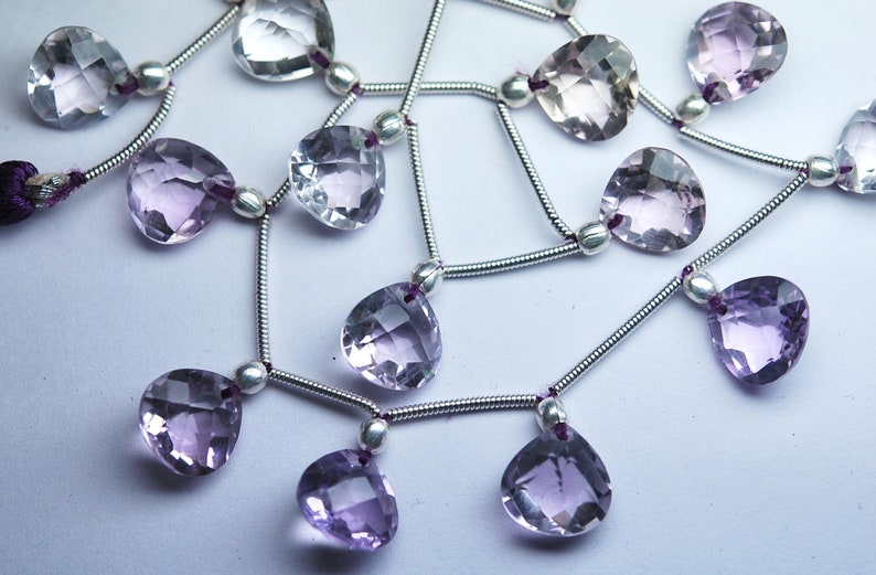 5 Matched Pairs Just New Arrival AAA Quality Pink Amethyst Front Drilled Faceted Heart Briolette/'s Size 10X10mm