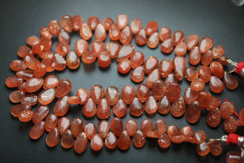 7-11mm Size, 9 Inches Strand.Natural African Sunstone Smooth Pear Shape Briolettes