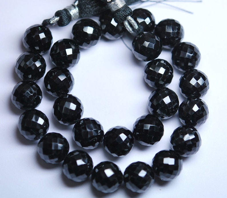 Full 30 Inch Long Strand,Black Spinel Finest Quality Micro Faceted Round Rondells 9-10mm