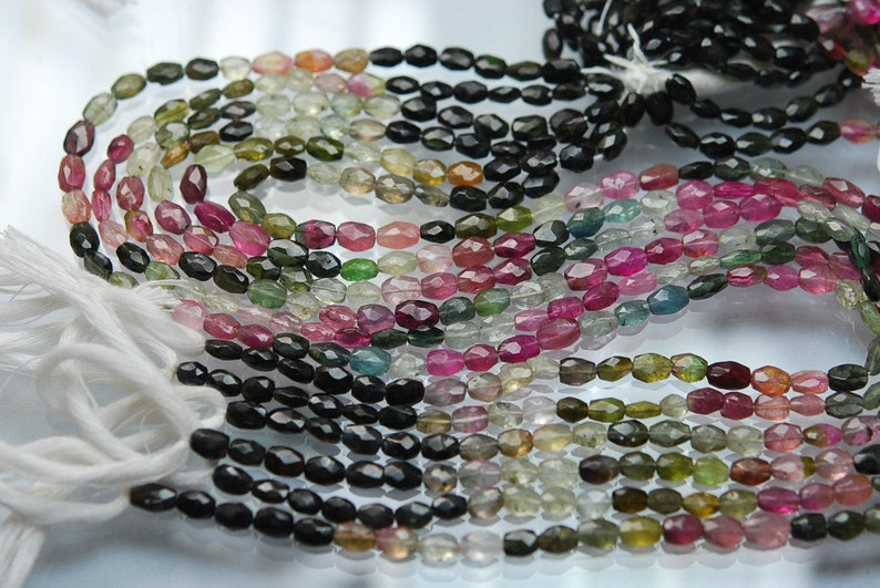 5-6mm 14 Inch Strand Super-Finest,Multi Tourmaline Faceted Oval Shaped Beads