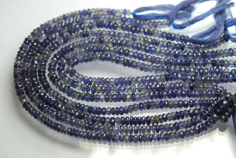 18 Inch Strand Natural Water Sapphire Iolite Micro Faceted Roundels 5.5-6mm Size,