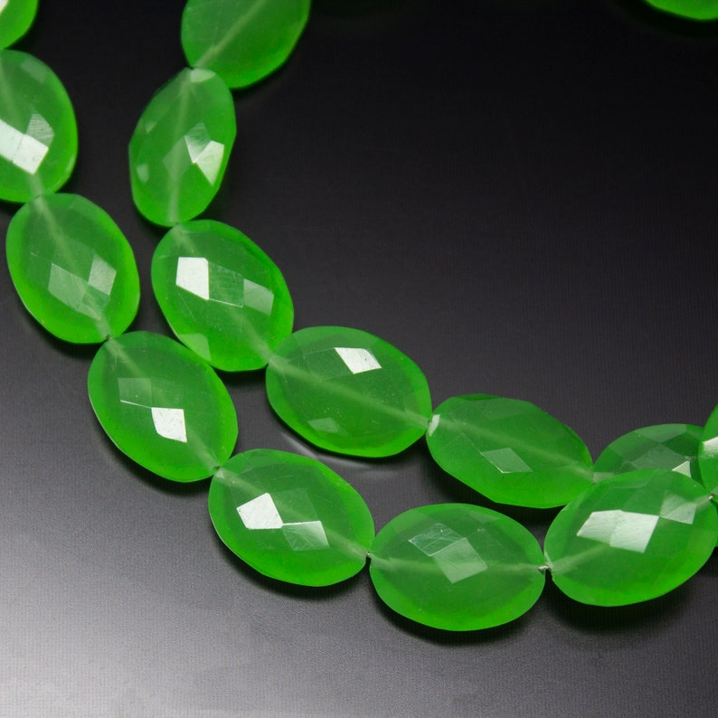 Black Friday Sale 8 Inches Chrysoprase Chalcedony Faceted Oval Shape Briolettes Beads 10X14mm