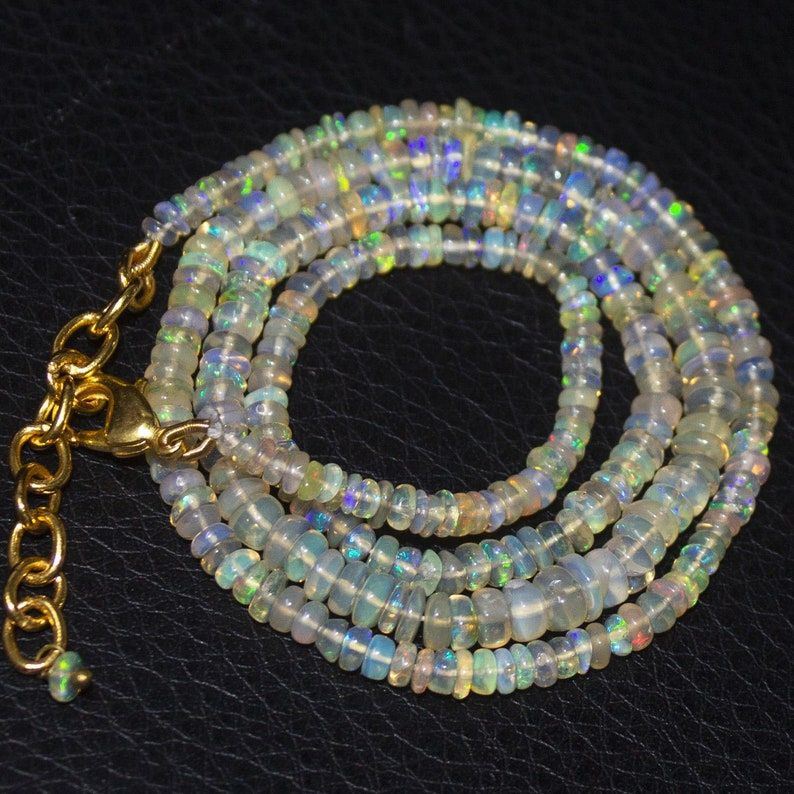 Natural Ethiopian Welo Opal Gold Plated Smooth Rondelle Necklace 3mm 5mm 20