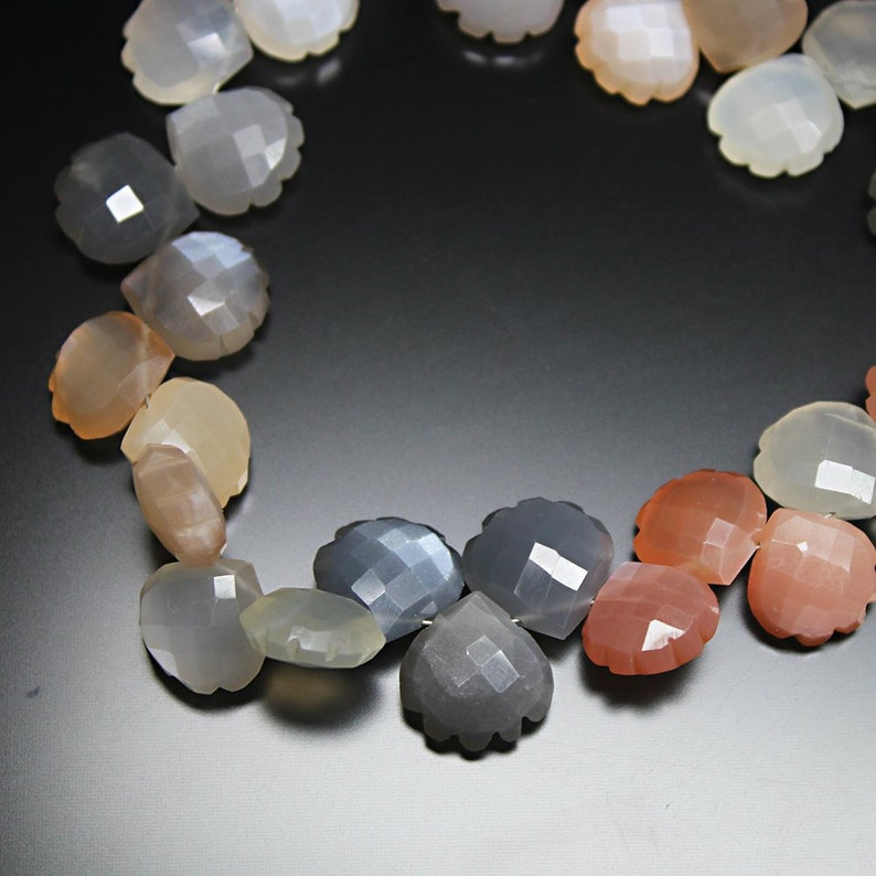 Multi Moonstone Natural Faceted Carving Heart Drop Loose Beads Strand 11mm 9