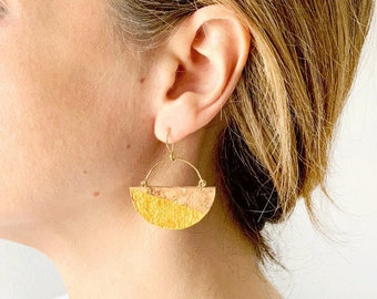 SILVER or silver moon cork earrings plated in gold by SUROH.