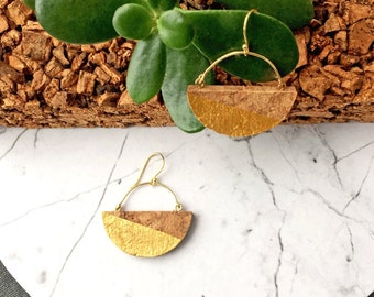 SILVER moon cork earrings plated in gold by SUROH.
