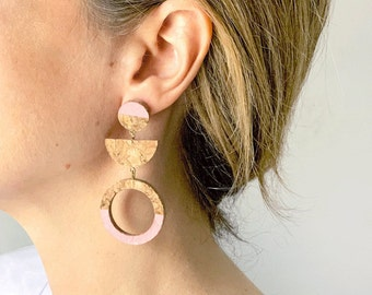 VENUS cork earrings in silver or silver plated in gold by SUROH.