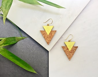 MIXED cork earrings in silver or silver plated in gold by Suroh.