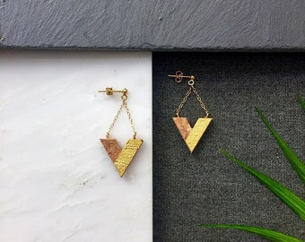 UVE cork, silver or silver earrings plated in gold by Suroh.