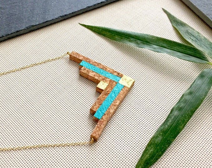 MAYAN Cork Necklace, gold-plated silver chain by Suroh.