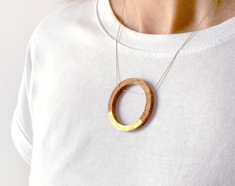 MEL-0 cork necklace silver or silver chain plated in gold by SUROH.
