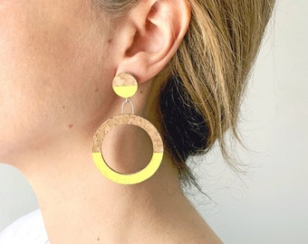TINA cork earrings in silver or silver plated in gold by SUROH.