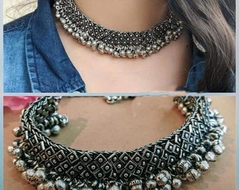 42cc19898 Afghani necklace, german silver boho necklace, oxidised silver choker,  indian silver jewelry