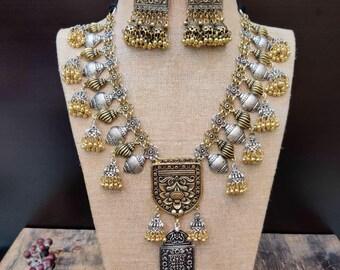 f950c0b19 Afghan jewelry, statement dual tone set, oxidised statement jewelry,german  silver jewelry, silver gold jewelry