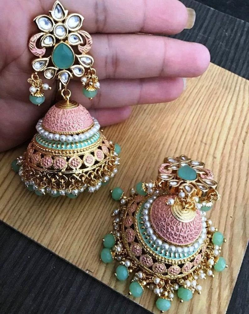 kundan and pearl statement earrings polki jewelry meenakari jewelry Indian traditional jhumki