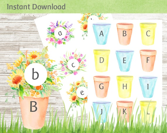 Flowers and Pots Letter Matching Game Busy Book Activity