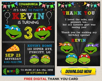 picture about Printable Ninja Turtle Invitations named Ninja turtle invitation printable Etsy