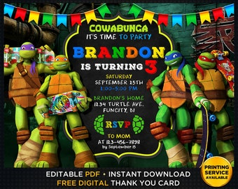 image about Printable Ninja Turtle Invitations titled Turtle invitation Etsy