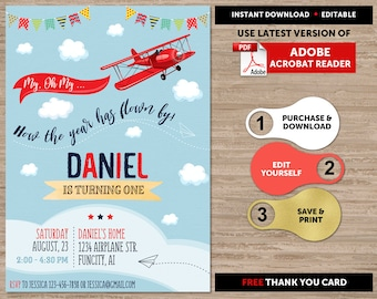 Airplane Birthday Invitation Party Boys Time Flies Digital Instant Download