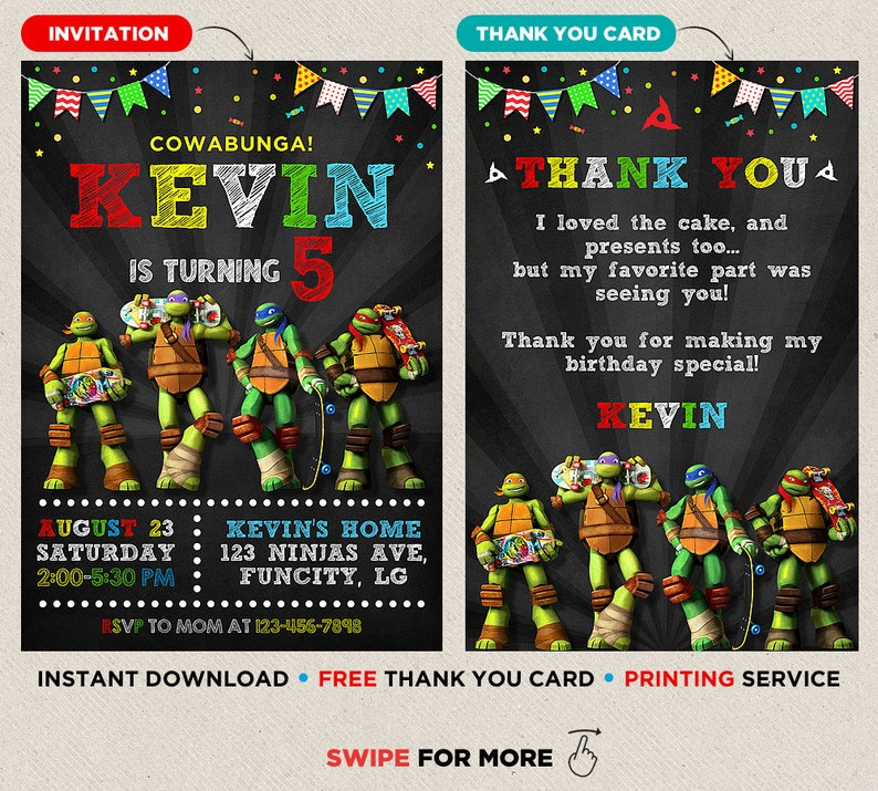 graphic regarding Ninja Turtles Invitations Printable referred to as Teenage Mutant Ninja Turtle Invites Ninja Turtle Invitation Instantaneous Down load Ninja Turtle Invitation Printable TMNT Thank Oneself Playing cards