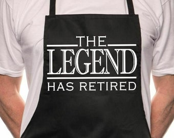 Print4u The Legend has Retired BBQ Cooking Funny Novelty Apron