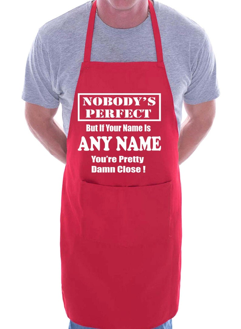 Print4u Personalised Custom Printed BBQ Apron Nobodys Perfect Add Any Name Fathers Day Gift Present Funny