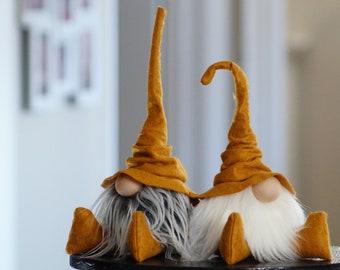 Fall gnome, Wizard Gnome, Library decor, Scandinavian gnome, farmhouse gnome, fall tiered tray, home office decor, gold decor, tomte, nisse