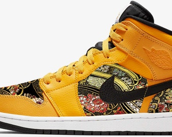 5e857a85335 Japanese Design Fabric Custom Air Jordan 1 Mid