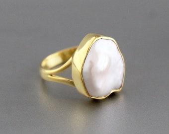 Natural Pearl Ring, Pebble Pearl Ring, 14K 18K Gold Ring, Simple Pearl Ring, Genuine Pearl Ring Gold, Bridesmaid Gift, Large Pearl Ring