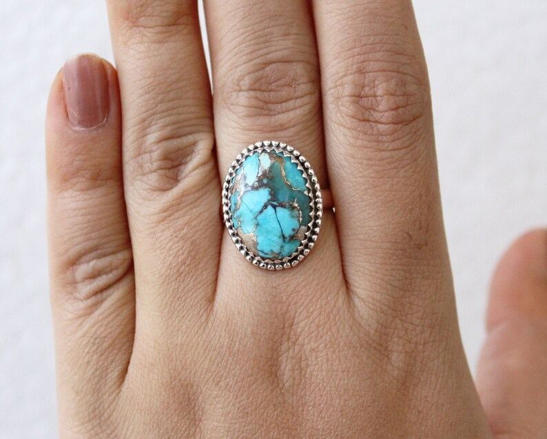 Gemstone ring Statement Ring Copper Turquoise Ring Boho Ring Turquoise Ring Gift for Her 925 Sterling Silver Ring