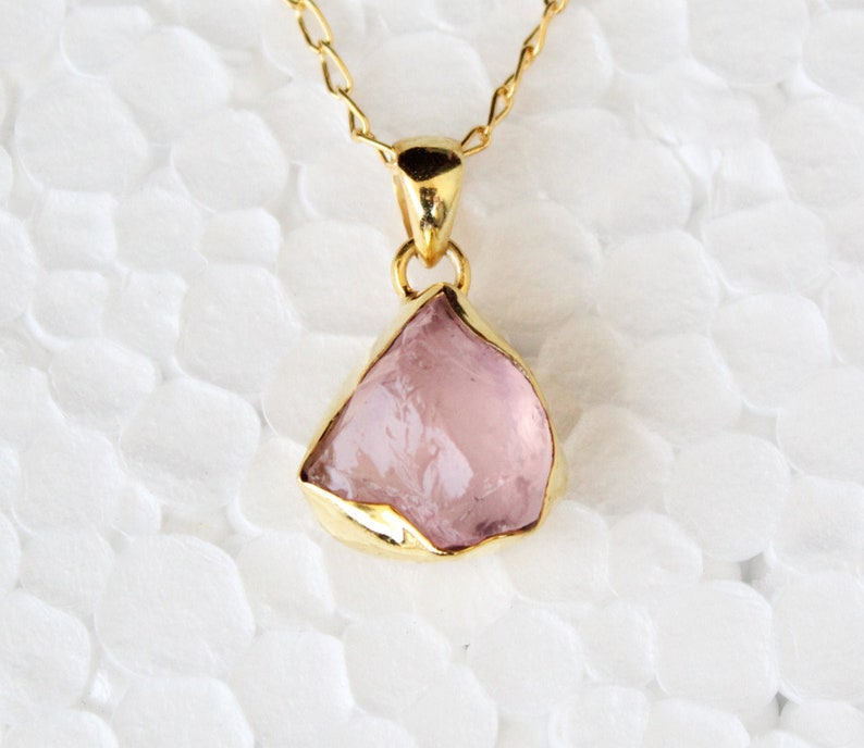 Gemstone Necklace Raw Crystal Necklace Stone Necklace 14k Gold Fill Raw Quartz Necklace Natural Crystal Necklace Rose Quartz Necklace