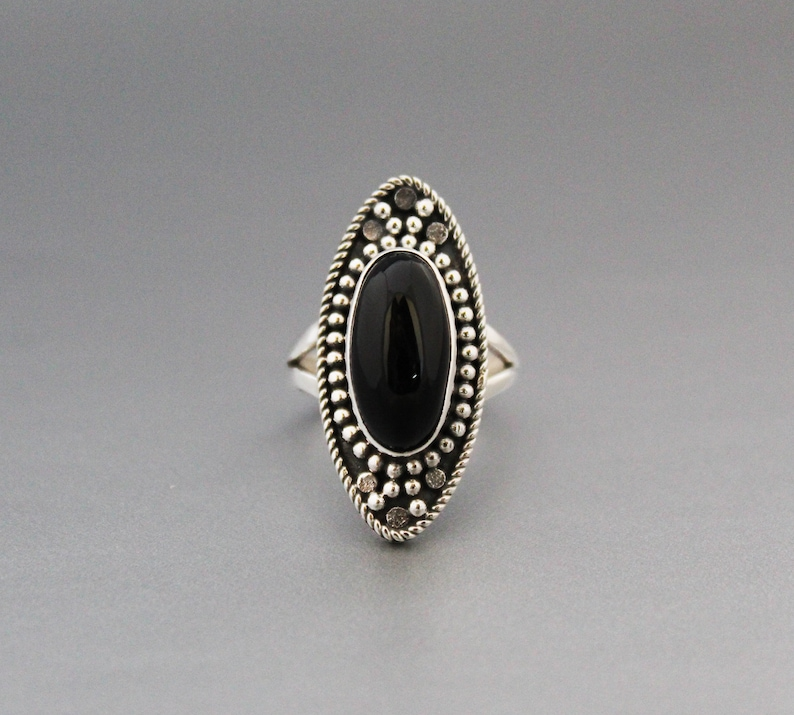 black statement ring gemstone ring Boho Ring Sterling Silver silver onyx jewelry Large Ring Black Onyx Ring