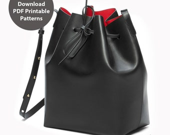 PDF patterns for leather bucket bag for women / Cross shoulder bag / DIY Bag / Instant download PDF / With instructions