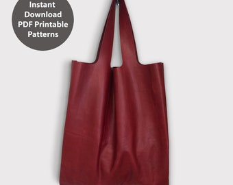 PDF patterns for leather tote bag / shopping bag / Instant download PDF / With instructions