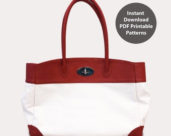 PDF patterns for leather & canvas tote bag | Instant download PDF | With instructions
