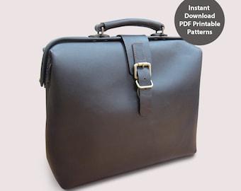 Leather doctor bag for men PDF patterns / leather patterns / DIY leather bag patterns (Frame size 35 x 8cm)