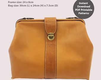 Leather doctor bag PDF patterns / leather patterns / DIY leather bag patterns (Frame size 23cm)