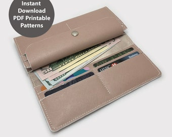 PDF patterns for leather wallet / long wallet / leather purse / Instant download PDF / With instructions