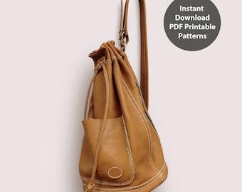 Leather bucket bag for men PDF patterns / leather patterns / DIY leather bag patterns