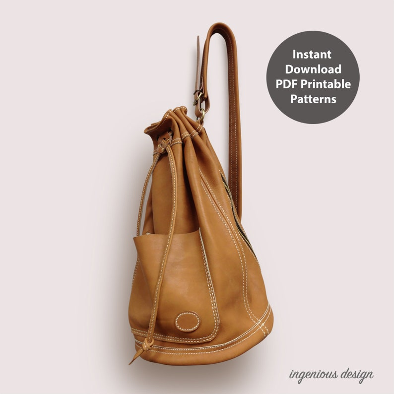 Leather bucket bag for men PDF patterns / leather patterns / image 0