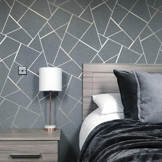 Yellow Grey Geometric Triangles Wallpaper Metallic Wood Grain Effect x 3 Rolls